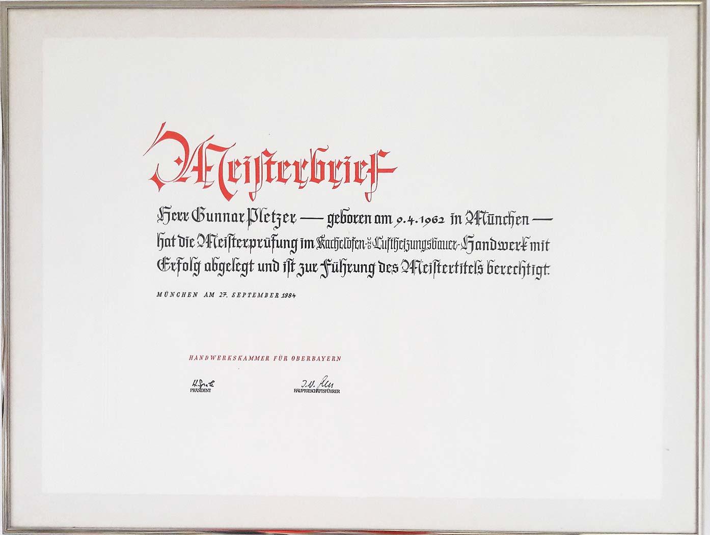 Ofenbau Pletzer Meisterbrief